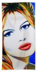 Hand Towel featuring the painting Brigitte Bardot Pop Art Portrait by Bob Baker