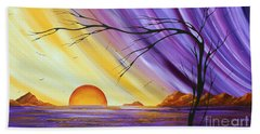 Brilliant Purple Golden Yellow Huge Abstract Surreal Tree Ocean Painting Royal Sunset By Madart Bath Towel