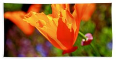 Hand Towel featuring the photograph Brilliant Spring Poppies by Rona Black