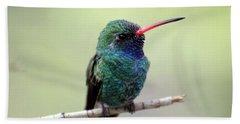 Broad-billed Hummingbird Portrait Bath Towel