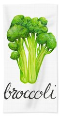Bath Towel featuring the painting Broccoli by Cindy Garber Iverson