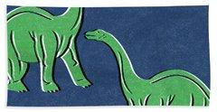 Brontosaurus Hand Towel by Linda Woods