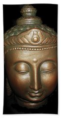 Hand Towel featuring the photograph Bronze Buddha Head by Joan Reese