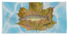 Brook Trout On Fly Bath Towel by Ralph Root