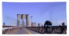 Brooklyn Bridge Bicyclist Hand Towel