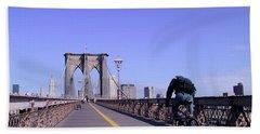 Brooklyn Bridge Bicyclist Bath Towel