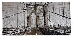 Brooklyn Bridge By Art Farrar Photographs, Ny 1930 Bath Towel