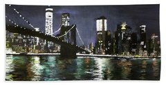 Brooklyn Bridge, East River At Night Bath Towel