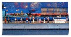 Brooklyn Bridge Fireworks Bath Towel