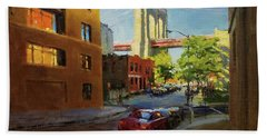 Brooklyn Bridge From Everit Street Hand Towel
