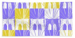Bath Towel featuring the photograph Brooklyn Bridge In Purple And Gold Square by Marianne Campolongo