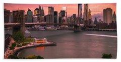 Brooklyn Bridge Over New York Skyline At Sunset Hand Towel