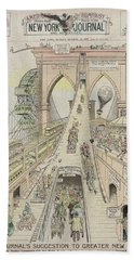 Hand Towel featuring the photograph Brooklyn Bridge Trolley Right Of Way Controversy 1897 by Daniel Hagerman