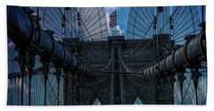 Bath Towel featuring the photograph Brooklyn Bridge Webs by Chris Lord