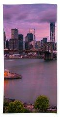 Brooklyn Bridge World Trade Center In New York City Hand Towel