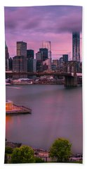 Bath Towel featuring the photograph Brooklyn Bridge World Trade Center In New York City by Ranjay Mitra
