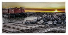 Brooklyn Waterfront Sunset Hand Towel by Jeffrey Friedkin