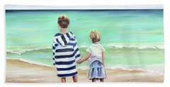 Bath Towel featuring the painting Brother And Sister by Patricia Piffath