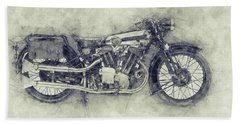 Brough Superior Ss100 - 1924 - Motorcycle Poster 1 - Automotive Art Bath Towel