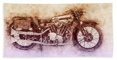 Brough Superior Ss100 - 1924 - Motorcycle Poster 2 - Automotive Art Bath Towel