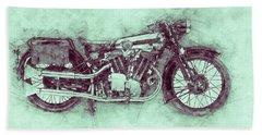 Brough Superior Ss100 - 1924 - Motorcycle Poster 3 - Automotive Art Bath Towel