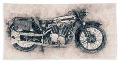 Brough Superior Ss100 - 1924 - Motorcycle Poster - Automotive Art Bath Towel