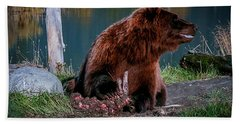 Brown Bear And Magpie Hand Towel