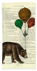 Brown Bear With Balloons Hand Towel