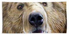 Hand Towel featuring the painting Brown Bear by Sandi Baker