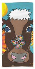 Brown Cow - Children Animal Art Hand Towel