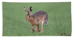 Brown Hare Running Bath Towel