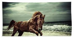 Brown Horse Galloping On The Coastline Bath Towel