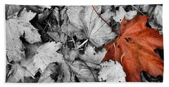 Brown Maple Leaf Bath Towel