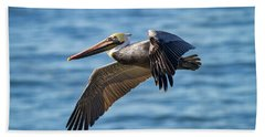 Brown Pelican In Flight Bath Towel