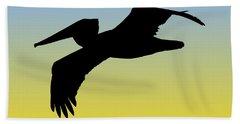 Brown Pelican In Flight Silhouette At Sunrise Hand Towel