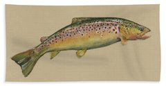 Brown Trout Jumping Hand Towel by Juan Bosco