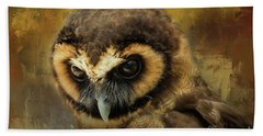 Brown Wood Owl Hand Towel