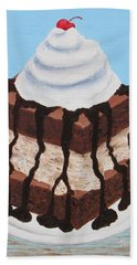 Bath Towel featuring the painting Brownie Ice Cream Sandwich by Nancy Nale