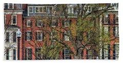 Hand Towel featuring the photograph Brownstone Panoramic - Beacon Street Boston by Joann Vitali