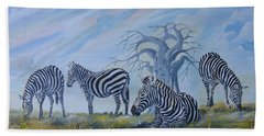 Hand Towel featuring the painting Browsing Zebras by Anthony Mwangi