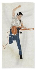 Bath Towel featuring the digital art Bruce Springsteen Typography Art by Inspirowl Design