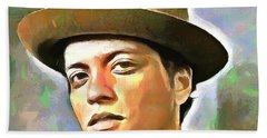 Bath Towel featuring the painting Bruno Mars by Wayne Pascall