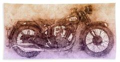 Bsa Sloper - 1927 - Vintage Motorcycle Poster 2 - Automotive Art Bath Towel