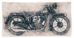 Bsa Sloper - 1927 - Vintage Motorcycle Poster - Automotive Art Bath Towel