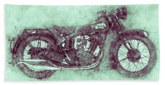 Bsa Sloper 3 - 1927 - Vintage Motorcycle Poster - Automotive Art Bath Towel