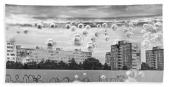 Bubbles And The City Hand Towel by John Williams