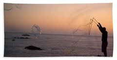 Bubbles On The Beach Hand Towel by Jim And Emily Bush