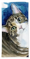 Bubbles - Tabby Cat Painting Bath Towel