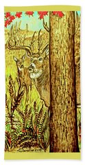 Buck And Deer  Bath Towel by Patricia L Davidson