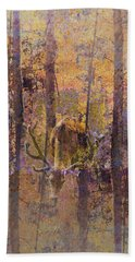 Bath Towel featuring the photograph Buck Deer In Camouflage by Suzanne Powers